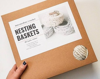 DIY Make Your Own Nesting Baskets   Chunky Crochet Kit   Crafty Do It Yourself Modern Holiday Gift under 50
