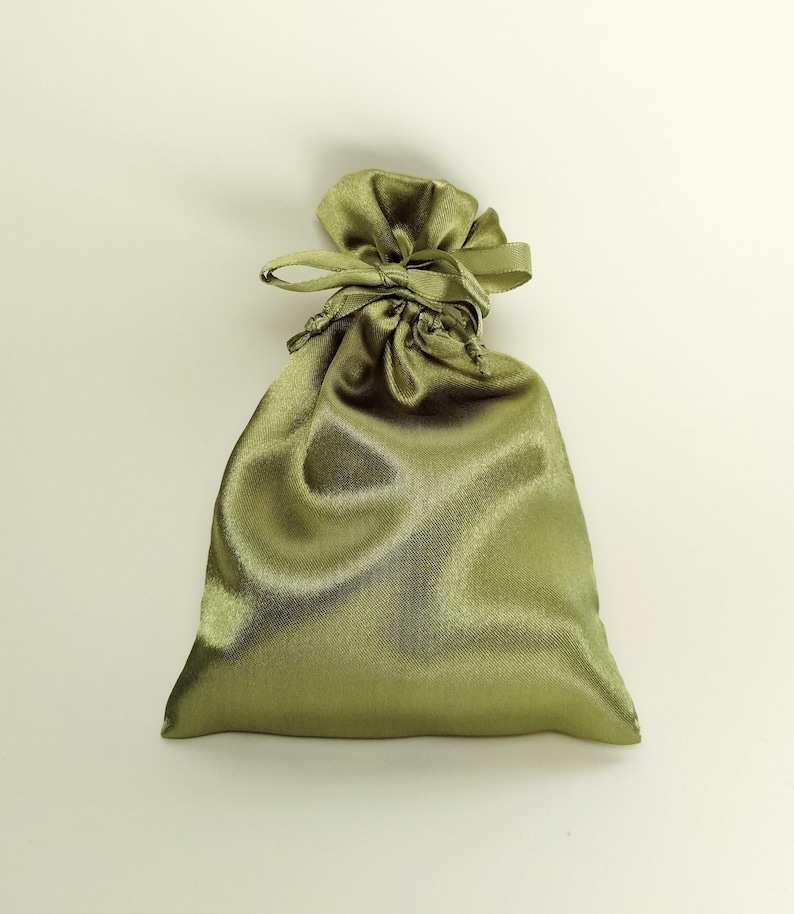 4x4.5 in gift bag jewelry storage pouch interior wedding favor bag Moss Olive Green 4x6 inches Satin Drawstring Bag