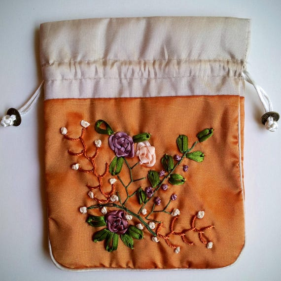 Silk Embroidered Drawstring Pouch lined 7x6 inches wedding Asian floral design large jewelry storage flowered princess bag gift