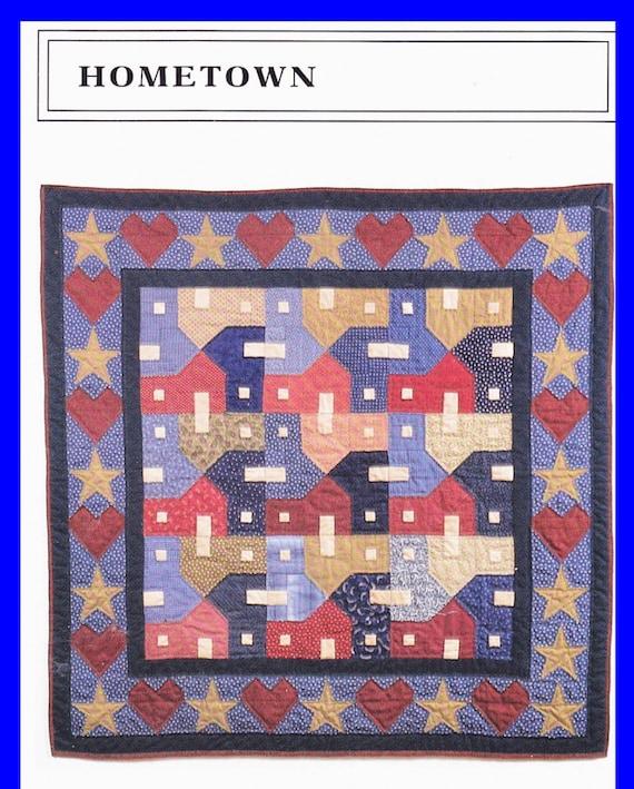 Primitive Quilt Pattern HOMETOWN MINI HOUSES Geometric Design- Red Wagon  Quilts by Linda Brannock Vintage 1988