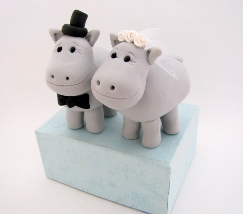 Hippo wedding cake topper bride and groom | Etsy