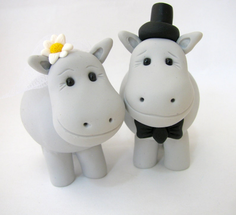 Hippo love wedding cake topper bride and groom polymer ...