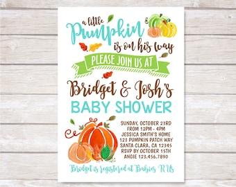 PUMPKIN BABY SHOWER Invitation. Baby Boy. Digital. Printable.