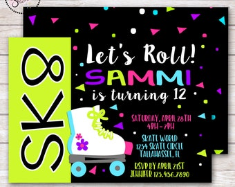 Neon Glow Roller Skating Birthday Party Invitation DIGITAL OR PRINTED