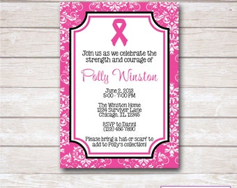 Invitation ribbon etsy pink ribbon breast cancer think pink party invitation printable stopboris Image collections