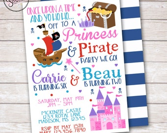 Princess and Pirate Birthday Party Invitation DIGITAL OR PRINTED