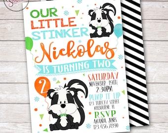 Skunk Little Stinker Birthday Party Invitation DIGITAL OR PRINTED