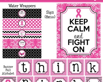 INSTANT DOWNLOAD - Pink Ribbon Breast Cancer Party Printable