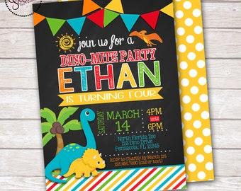 Dinosaur Chalkboard Boy Birthday Party Invitation DIGITAL OR PRINTED