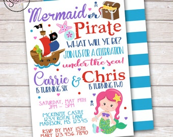 Mermaid and Pirate Birthday Party Invitation DIGITAL OR PRINTED