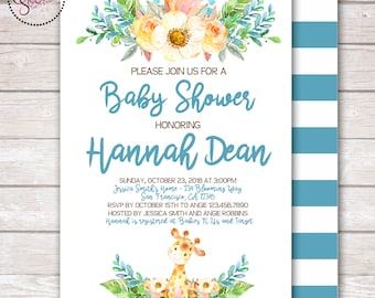 Watercolor Giraffe and Flowers Baby Boy Shower Invitation DIGITAL OR PRINTED