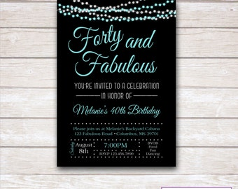 FORTY & FABULOUS 40th Birthday Party Invitation - Printable