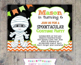 HALLOWEEN MUMMY INVITATION 5x7 Birthday Party - Boy Printable