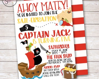 Pirate Birthday Party Invitation DIGITAL OR PRINTED