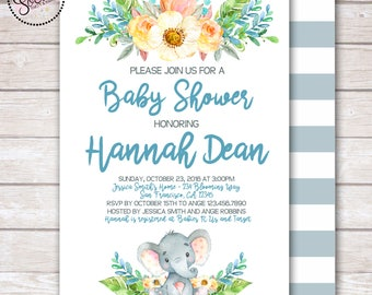 Watercolor Elephant and Flowers Baby Boy Shower Invitation DIGITAL OR PRINTED