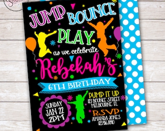 Jump Bounce Trampoline Birthday Party Invitation DIGITAL OR PRINTED