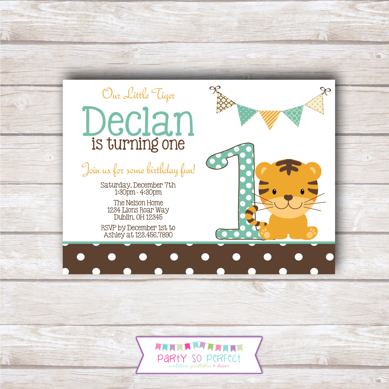 LITTLE TIGER Birthday Party Invitation Printable | Etsy