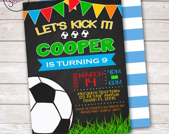 Soccer Ball Chalkboard Birthday Party Invitation DIGITAL OR PRINTED
