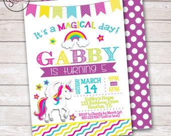 Magical Unicorn Girl Birthday Party Invitation DIGITAL OR PRINTED