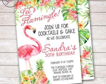 Watercolor Pink Flamingo, Pineapple and Hibiscus Tropical Invitation DIGITAL OR PRINTED