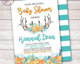 Boho Deer and Flowers Baby Shower Invitation DIGITAL OR PRINTED