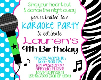 KARAOKE Girl 5x7 Birthday Invitation - Printable