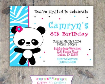 PANDA Birthday Party 5x7 Invitation - Girl PRINTABLE