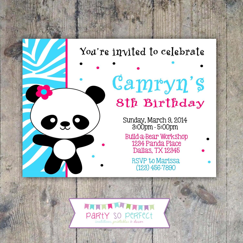 PANDA Birthday Party 5x7 Invitation Girl PRINTABLE | Etsy