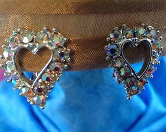 Vintage Rhinestone Heart Earrings, Clip On Earrings Rhinestone Earrings, Aurora Borealis Rhinestone Earrings