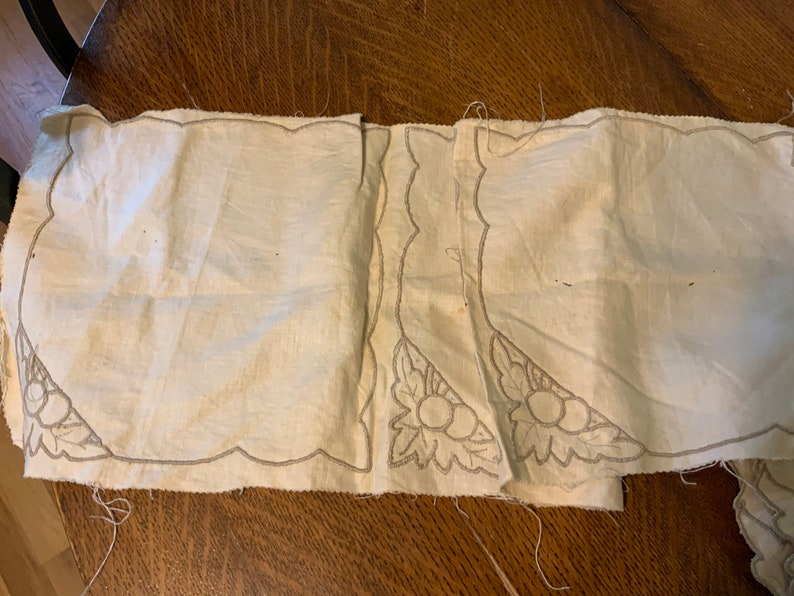 Not the Best of Condtion Napkins and Tablecloth Vintage 40\u2019s or 50\u2019s Unfinished Cutwork Embroidered Linen Home Needlecraft Creation