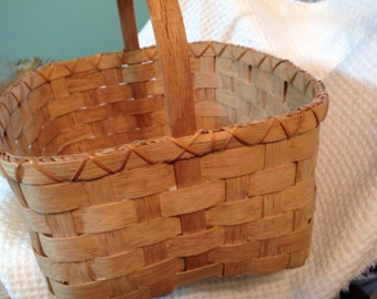 Vintage  Woven Basket, handmade basket, dated woven basket, collectible basket