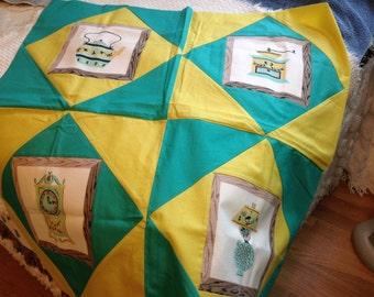 Vintage Unfinished Tablecloth, Unfinished Table Topper,  50's Patchwork, Patchwork Table Topper