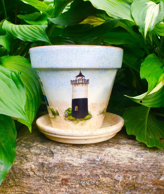 Lighthouse Flower Pot with Saucer, Lighthouse Planter, Lighthouse Fabric, on low bowl planters, diy painted planters, resin planters, wicker planters, plastic planters, ceramic planters, wood planters, bronze planters, shallow bowl planters, rustic planters, urn planters, concrete planters, stone planters, unique planters, stoneware planters, copper planters, mirrored footed planters, garden planters, best pools planters, flower planters,