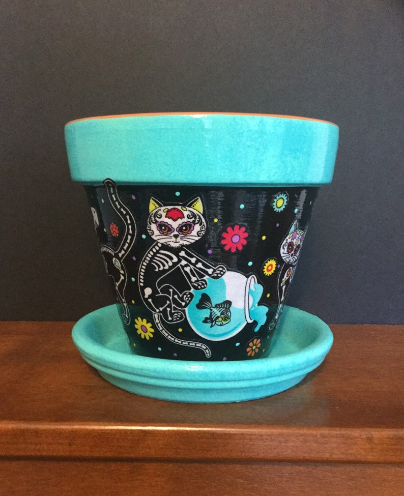 Cats Planter Cats Playing in Fishbowl Day of the Dead Cat Flower Pot with Saucer Sugar Skull Cats Skeleton Cats Gift for Cat Lover,