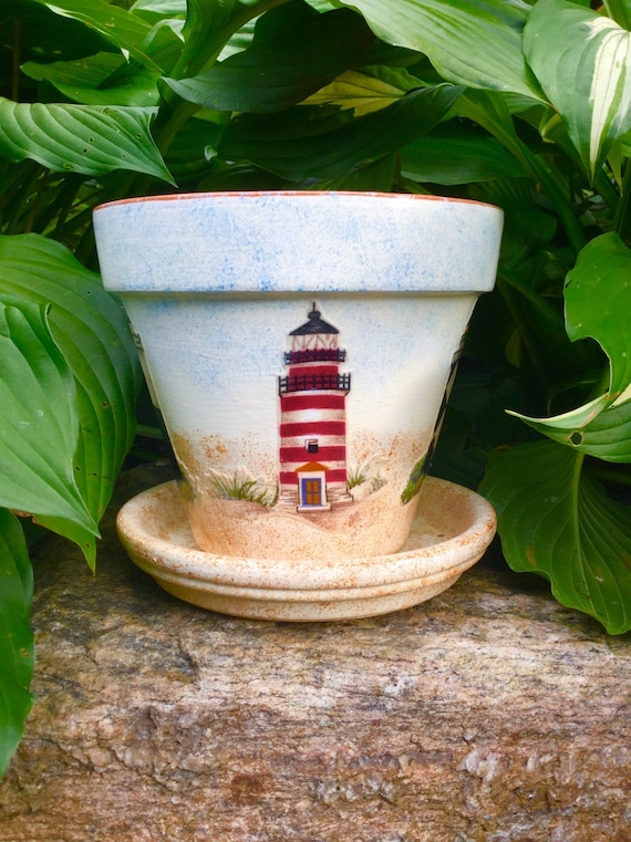 Lighthouse Flower Pot with Saucer, Lighthouse Planter, Lighthouse Fabric, on antique planters, porcelain planters, stacked planters, crochet planters, vintage mccoy planters, pewter planters, furniture planters,