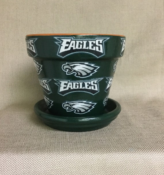 new style 52b35 1d0f0 Philadelphia Eagles Flower Pot with Saucer, Philly Eagles, Eagles Football,  Eagles, Eagles Gift, Eagles NFL, Decorated Flower Pot