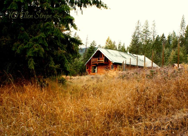 PHOTO note card fall colors cabin log cabin digital photo image 0