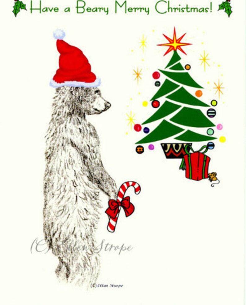 CARD note card Christmas card bear black bear Ellen image 0