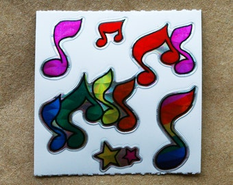 Music Notes Prism Vintage Stickers