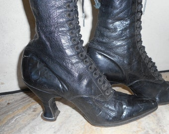 Antique black leather lace up boots early 1900's