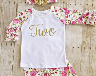 dac25d42 Second Girl Birthday Outfit, TWO gold glitter ruffle shirt, icing floral  pants leggings, headband set Baby girl , toddler