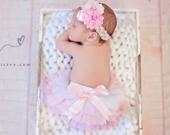 White Pink ombre All around Chiffon ruffle Baby bloomer, diaper cover Newborn, infant, toddler  tutu 0-18 months