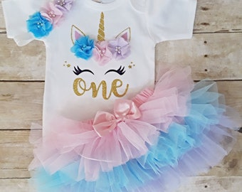 794f52048b7 Unicorn First ONE birthday outfit 1st Birthday