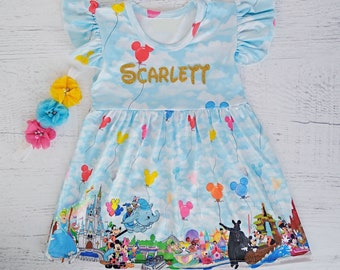 Disney dress, Disney world dress, Birthday Disney dress, Disney princess dress, Mickey Mouse dress, Flutter sleeves dress 12 mths -16 yrs