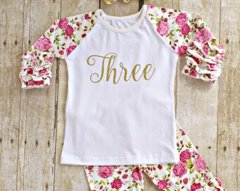 0fb7fd9ce98a8 Third Girl Birthday Outfit, THREE gold glitter ruffle shirt, icing floral pants  leggings, headband set Baby girl , toddler