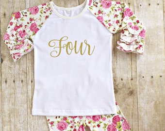 0f91822343eb3 Fourth Girl Birthday Outfit, FOUR gold glitter ruffle shirt, icing floral pants  leggings, headband set Baby girl , toddler