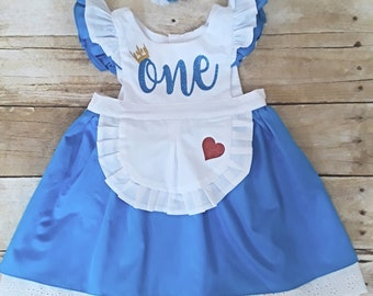 bf8f3d4620ad First 1st birthday, Alice in Wonderland dress outfit, birthday, girl, baby,  toddler. Smash Cake, Halloween, costume. 6-18 months