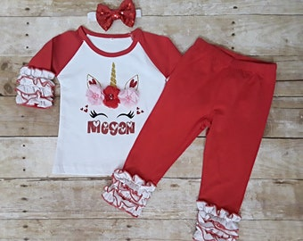 3351c94cbffb9 Unicorn Valentine personalized outfit. Girl outfit. Top, pants, headband  set. Icing, ruffle outfit Baby girl toddler 1-5 years