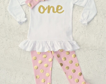 55812a6c36d8 ONE First Birthday Outfit, ONE gold glitter shirt, polka dot pants leggins  headband set Baby girl toddler White/black shirt Pink icing pants