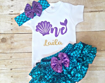 263a31fa5d6 Mermaid first birthday outfit Personalized 1st birthday